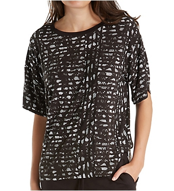 DKNY Lace Effects Short Sleeve Top