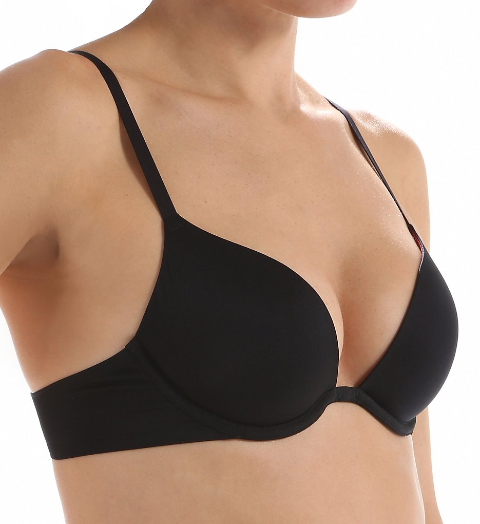 DKNY - DKNY DK1023 Signature Smooth Plunge Push Up Bra (Black/Mineral 32D)