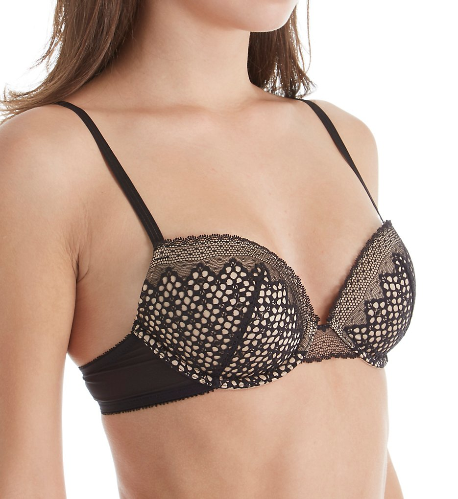 DKNY : DKNY DK2006 Sheer Lace Lightweight Push Up Bra (Black/Skinny Dip 32B)