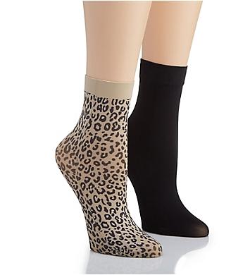 DKNY Hosiery Leopard Anklet Sock - 2 Pack