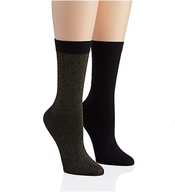 DKNY Hosiery Lurex Rib Midcalf Sock - 2 Pack