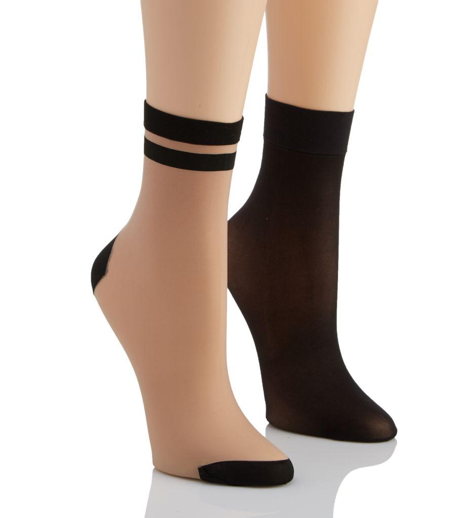 DKNY Hosiery Stripe Tip Anklet Multipack - 2 Pack