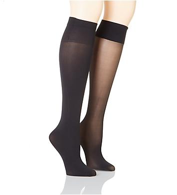 DKNY Hosiery Opaque & Sheer Knee Highs - 2 Pair Pack