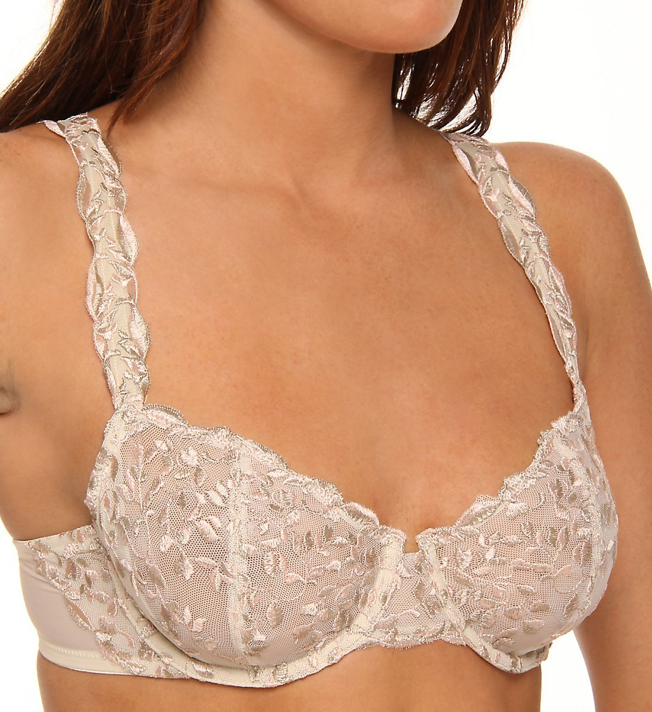 Donna Karan - Donna Karan 453179 Incognita Embroidered Balconette Bra (Blush w/ Nomad/Froth 32B)