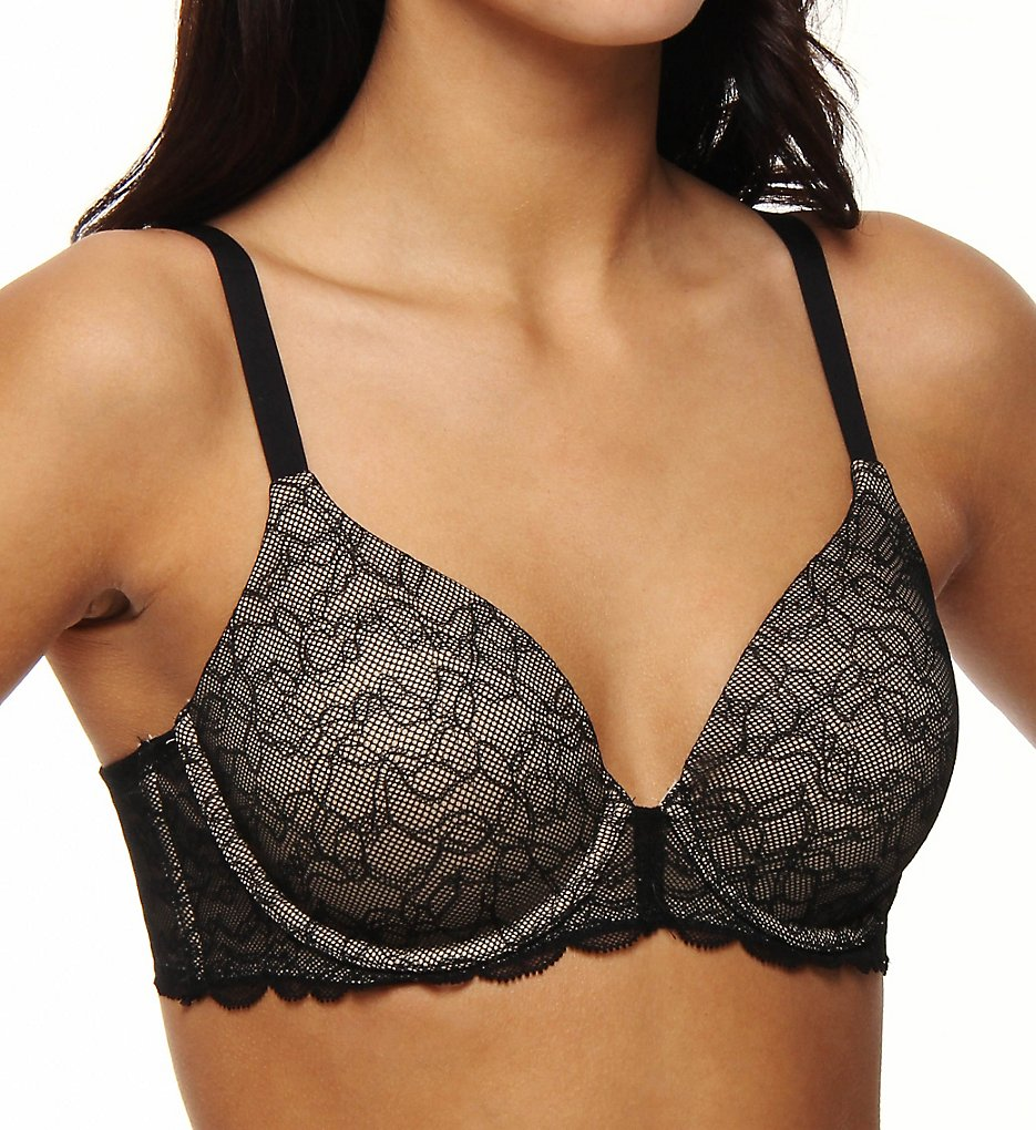 Donna Karan - Donna Karan 453197 Incognita All Over Contour T-Shirt Bra (Black w/Nomad 32B)