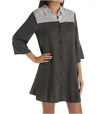 Donna Karan Sleepwear Black Stripe Sleepshirt