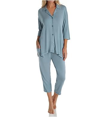 Donna Karan Sleepwear Notch Collar Capri PJ Set