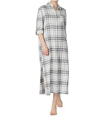 Donna Karan Sleepwear Flannel Maxi Sleepshirt