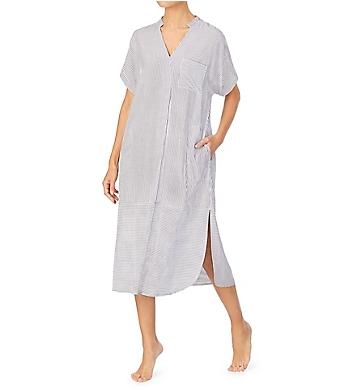 Donna Karan Sleepwear Seersucker Stripe Maxi Sleepshirt