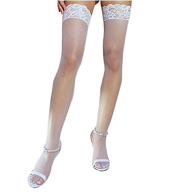 Dreamgirl Fishnet Thigh Highs with Lacy Silicone Bands