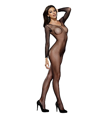 Dreamgirl Fishnet Long Sleeve Open Crotch