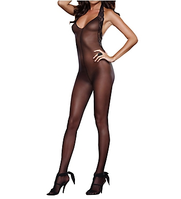 Dreamgirl Sheer Halter Bodystocking With Stretch Lace Trim