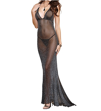 Dreamgirl Shimmer Metallic Stretch Gown with G-String