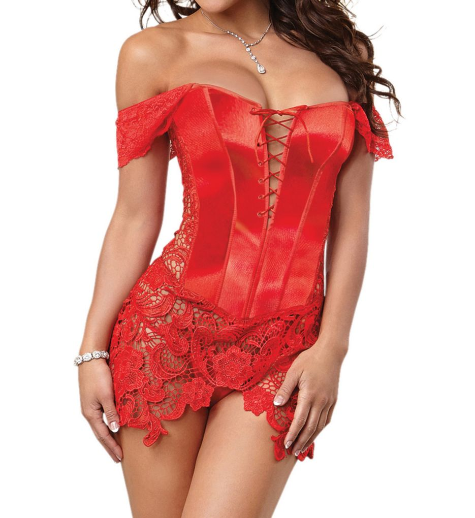Dreamgirl Beyonce Satin Corset And Thong Set