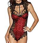 High Neck Teddy with Lace Overlay
