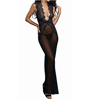 Dreamgirl Sheer Deep V Mesh Gown with G-string