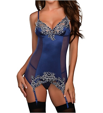 Dreamgirl Lace Detail Corset Dress with Garters and G-string