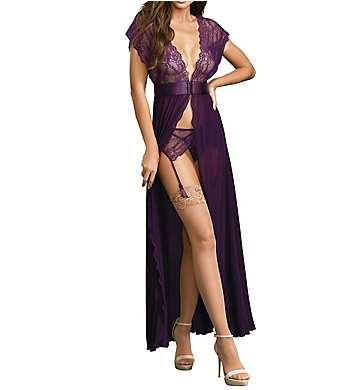 Dreamgirl Lace and Mesh Gown with Garters
