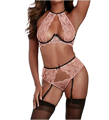 Dreamgirl High Neck Open Cup Bra with Garter Panty