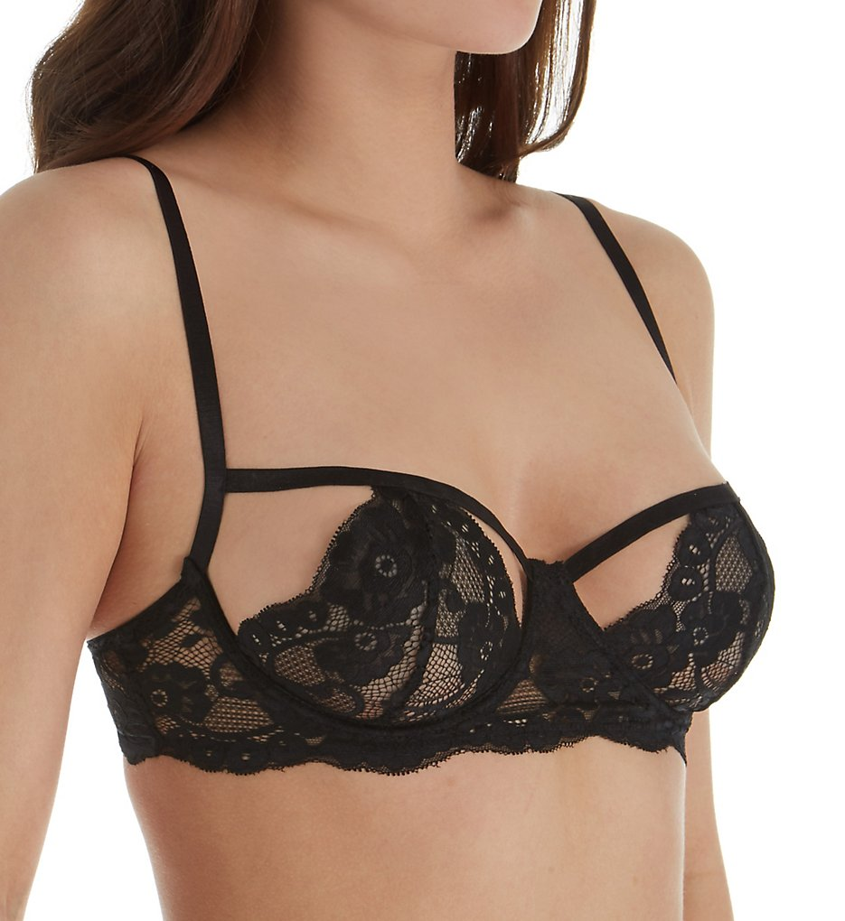 Dreamgirl - Dreamgirl 11539 Peek-a-Boo Cup Lace Bra (Black 32)