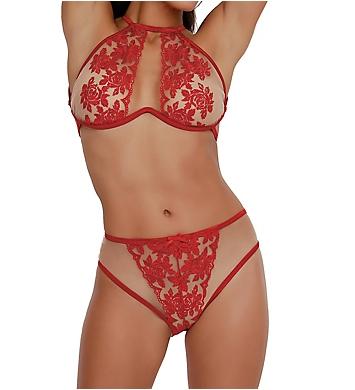 Dreamgirl Embroidered Rose Sheer High Neck Bralette Set