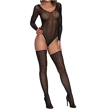 Dreamgirl Seamless Sweater Knit Teddy with Thigh Highs Set