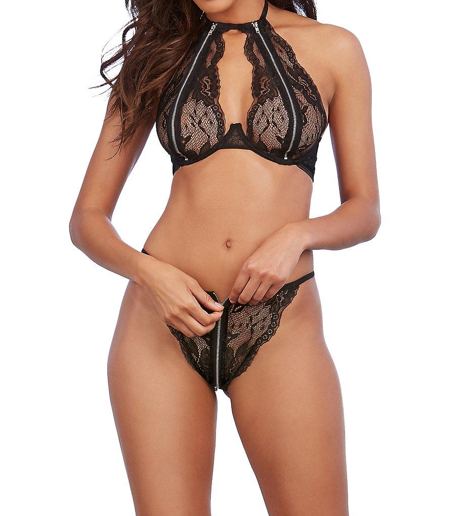 Dreamgirl 11835 Lace and Zipper Bra and Panty Set (Black O/S)