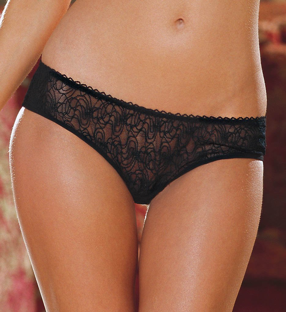 Dreamgirl - Dreamgirl 1300 Stretch Lace Low Rise Crotchless Panty (Black S)
