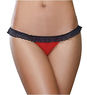 Dreamgirl Stretch Mesh With Lace Open Back Heart Panty