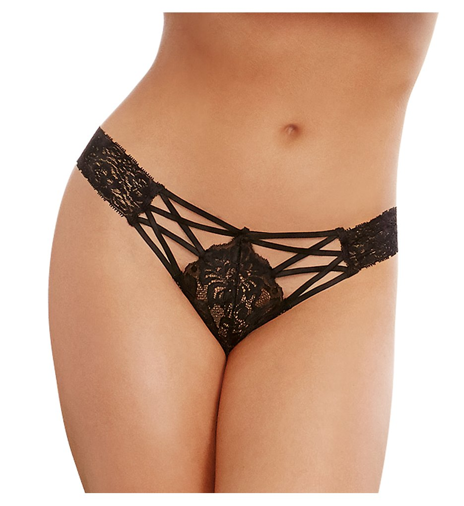 Dreamgirl - Dreamgirl 1435 Lace Up Cheeky Panty (Black S)