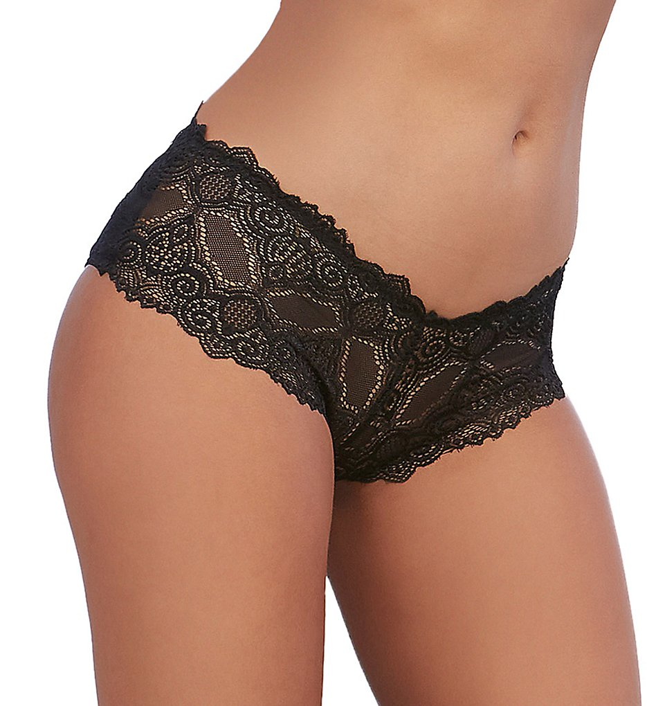 Dreamgirl - Dreamgirl 1462 Open Back Galloon Lace Panty (Black S)