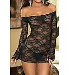 Off Shoulder Stretch Lace Chemise With Thong