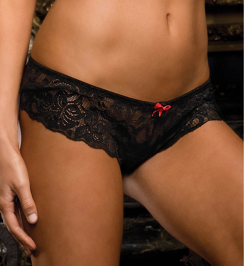 Dreamgirl - Dreamgirl 7177 Stretch Lace Crotchless Overlap Satin Bow Panty (Black S)