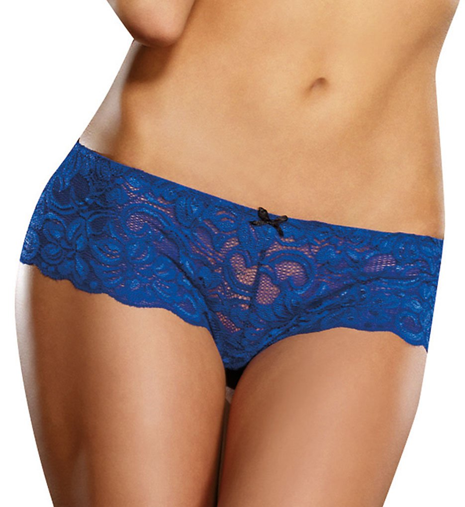 Dreamgirl 7177 Stretch Lace Crotchless Overlap Satin Bow Panty (Sapphire)