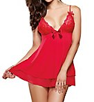 Stretch Lace Babydoll With Matching Thong