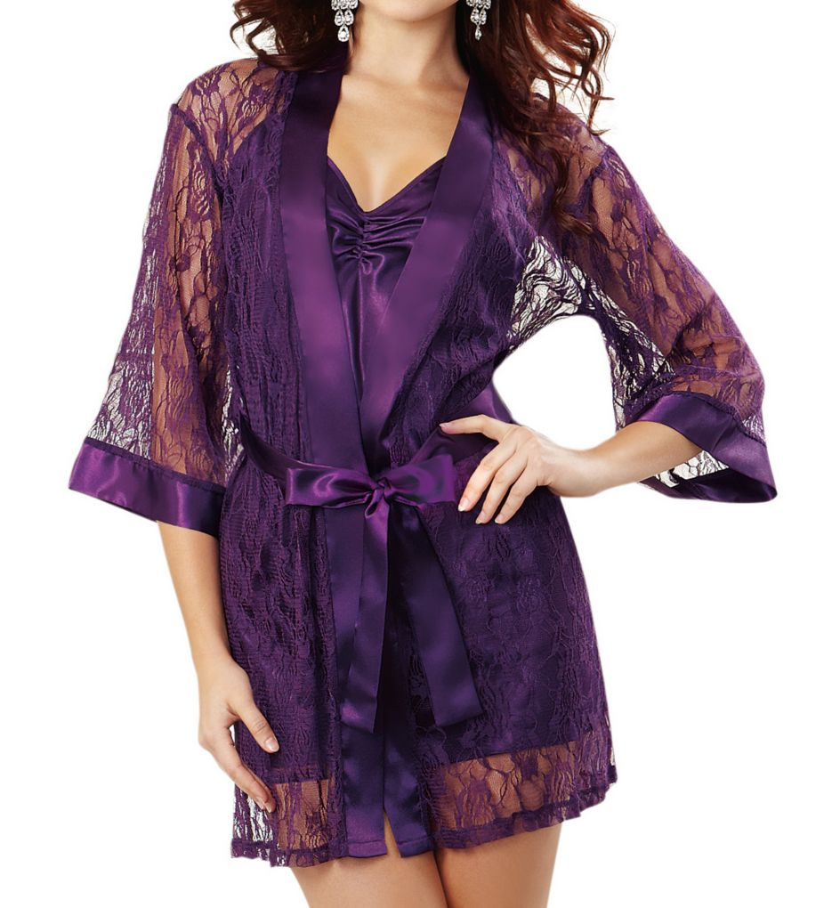Dreamgirl Stretch Lace Robe With Charmeuse Babydoll