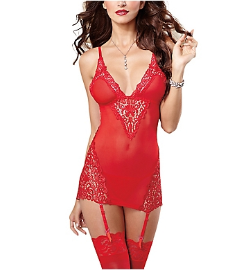 Dreamgirl Lace And Mesh Garter Chemise With Thong