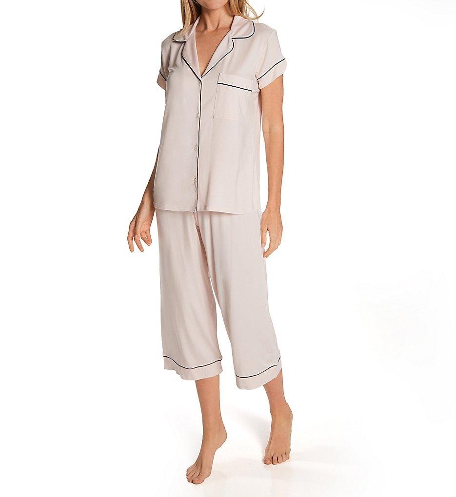 Eberjey PJ1018T Gisele Short Sleeve and Cropped Pant PJ Set (Sorbet/Black XS)