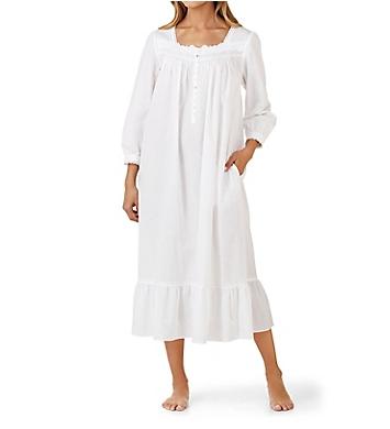 Eileen West Solid Cotton Lawn Long Sleeve Ballet Nightgown