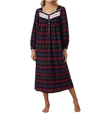 Eileen West Multi Plaid Flannel Ballet Long Sleeve Nightgown