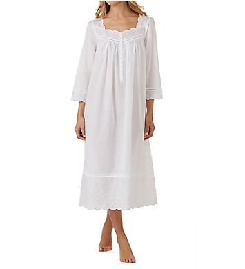 Eileen West Eyelet Floral Long Sleeve Ballet Nightgown