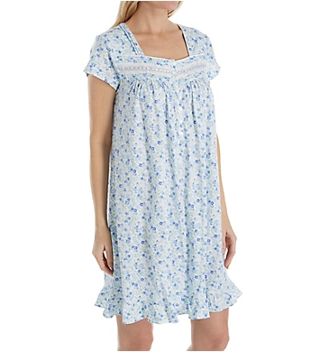 Eileen West Blue Spring Floral Short Jersey Nightgown