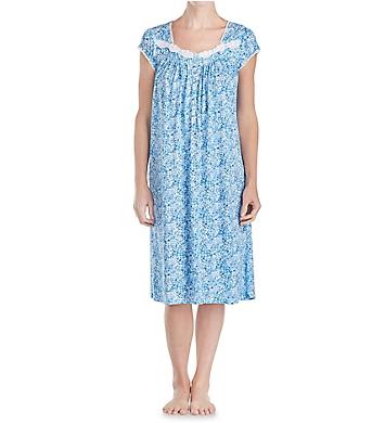 Eileen West Blue Floral Cotton Modal Waltz Nightgown