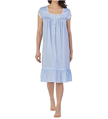 Eileen West Chambray Floral Cap Sleeve Waltz Nightgown