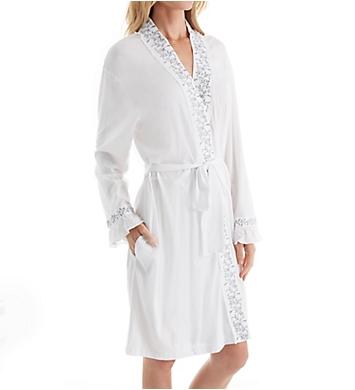 Eileen West Grey Floral Short Wrap Robe