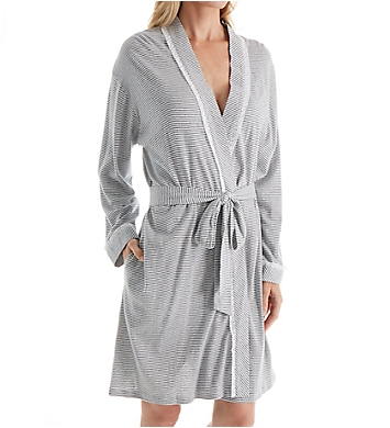 Eileen West Grey Stripe Short Wrap Robe