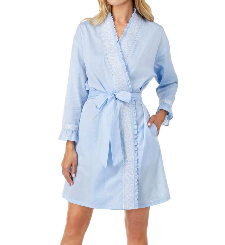Eileen West Chambray Embroidered Short Wrap Robe