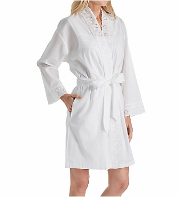 Eileen West Embroidered Cotton Short Wrap Robe