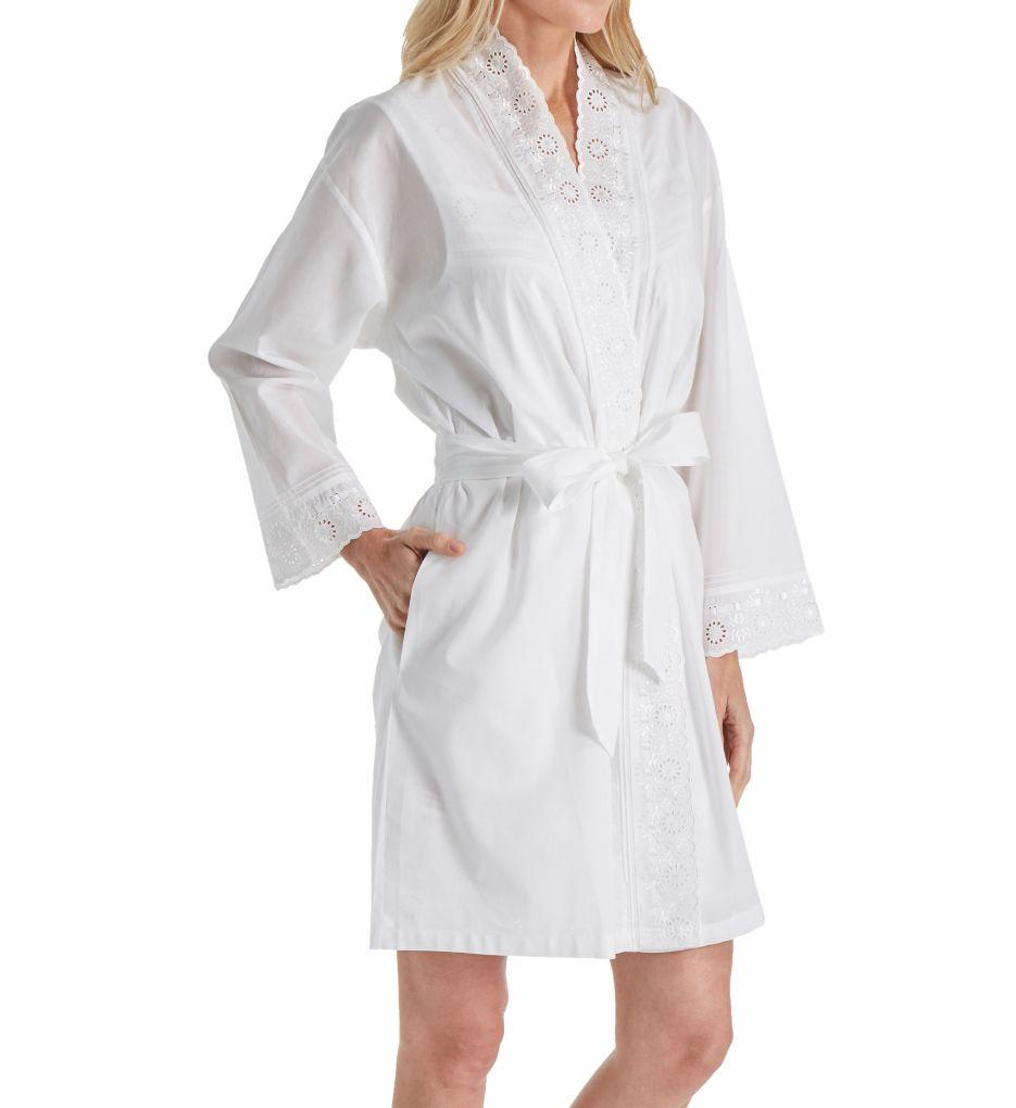 Eileen West Embroidered Cotton Short Wrap Robe