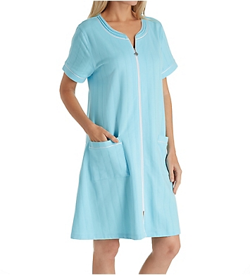 Eileen West Seaglass French Terry Short Zip Robe